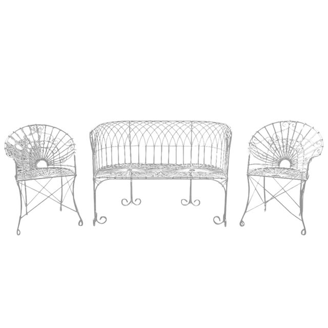 French Wrought Iron and Wire Garden Patio Set For Sale