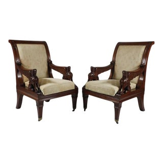 Antique Carved Egyptian Revival Armchairs - a Pair For Sale