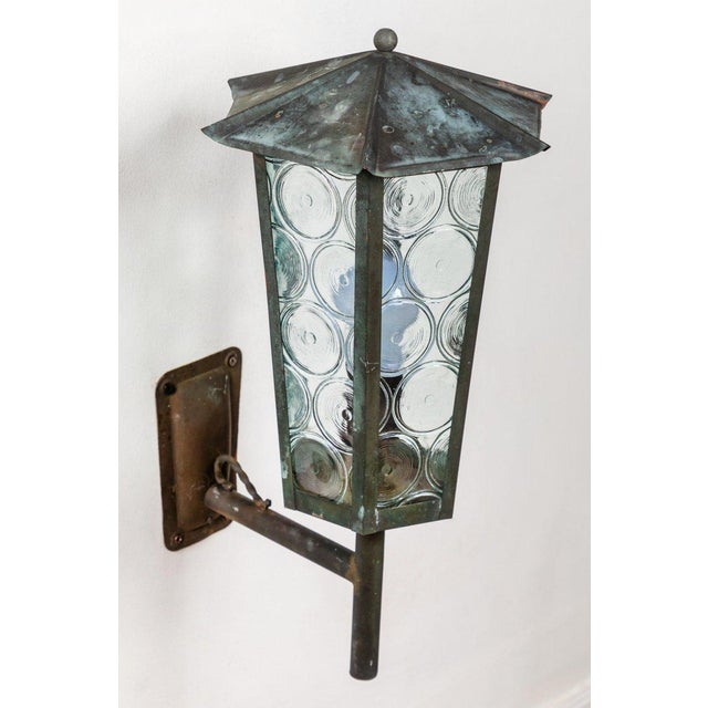 1950s Large Scandinavian Outdoor Wall Lights in Patinated Copper and Glass For Sale - Image 4 of 11