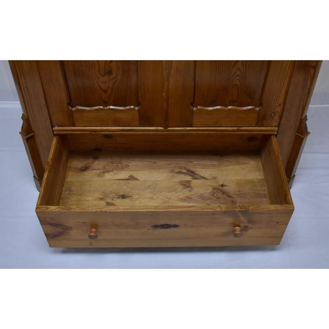 Pitch Pine Bonnet Top Two Door Armoire For Sale - Image 11 of 13