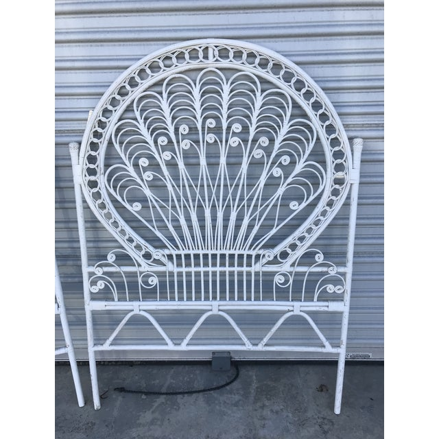A fabulous rare pair of vintage white wicker rattan matching twin size headboards in excellent vintage condition.