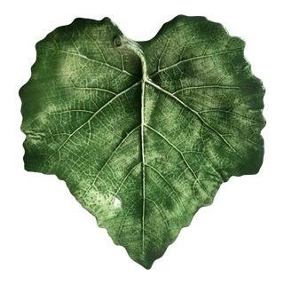 Vietri 'Foglia' Faience Green Leaf Dish For Sale