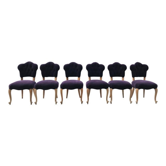 19th Century Antique Bohemian Tufted Rococo Dining Side Chairs Cabriole Legs - Set of 6 Mohair With Designers Guild Floral Print For Sale