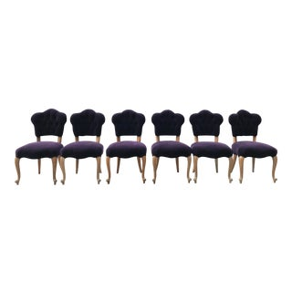 19th Century Antique Bohemian Tufted Rococo Dining Side Chairs- Set of 6 Mohair With Designers Guild Floral Print For Sale