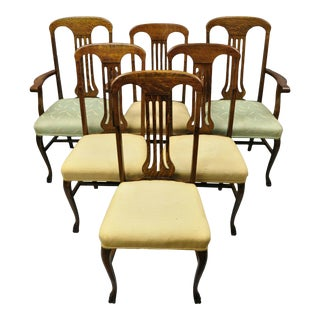 Antique Victorian Tiger Oak Carved Paw Foot Slat Back Dining Chairs - Set of 6 For Sale
