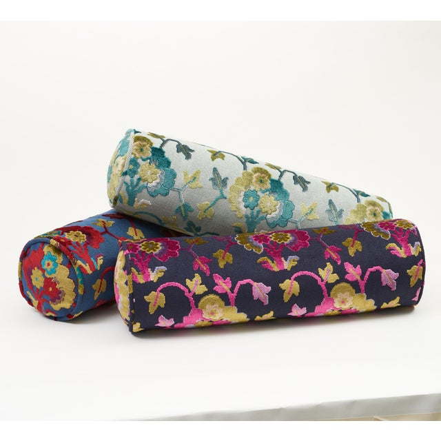 Schumacher Jennie Velvet Bolster Pillow in Blue & Red For Sale In New York - Image 6 of 9