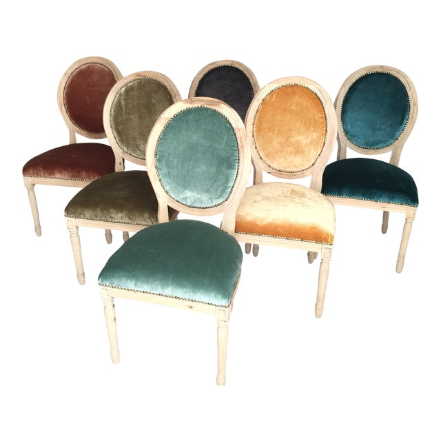 Silk Velvet & Animal Hide Chairs - Set of 6 For Sale