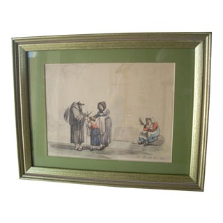 Early 19th Century Antique Italian Watercolor Painting