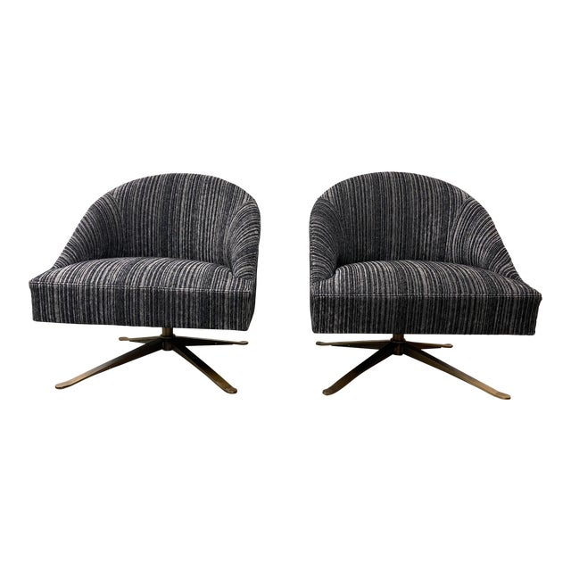 Brand New Lee Industries Swivel Chairs + Charcoal Larsen Fabric - a Pair For Sale