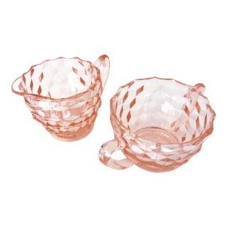 Pink Depression Glass Sugar Bowl and Creamer Set For Sale