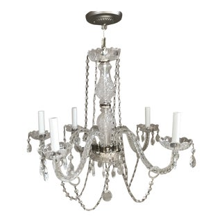 Vintage Silver and Crystal 5-Armed Garland Chandelier For Sale