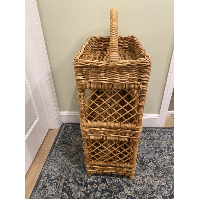 Large Palm Beach Wicker 3-Tier Tall Basket With Shelving For Sale - Image 4 of 10