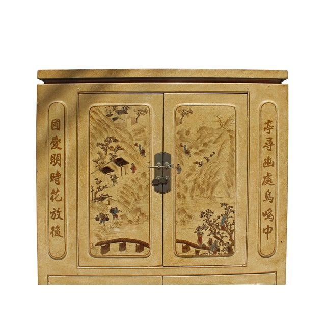 Chinese Golden Beige Veneer Print Graphic Side Table Shoes Cabinet For Sale In San Francisco - Image 6 of 8