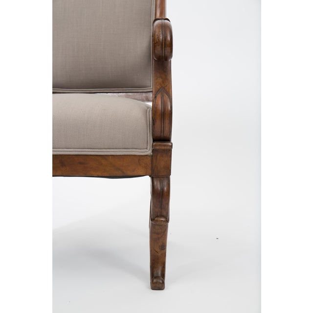 Solid Walnut Pair French Restauration Armchairs For Sale - Image 10 of 10