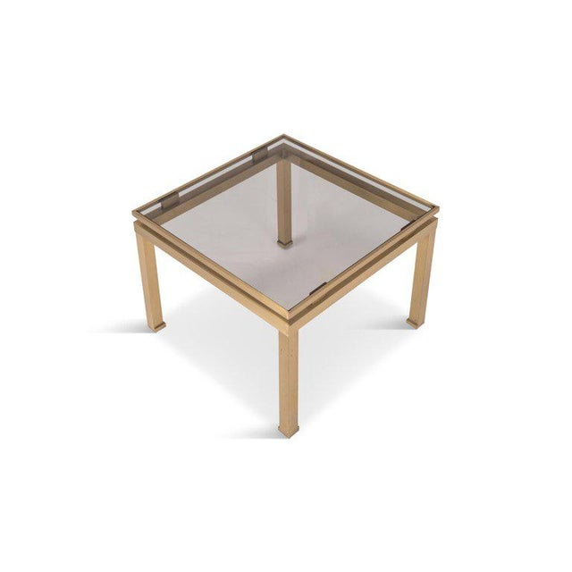 Hollywood Regency Guy Lefevre Side Tables in Brass and Smoked Glass for Maison Jansen For Sale - Image 3 of 10