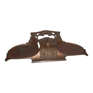 Art Nouveau Copper Inkwell For Sale