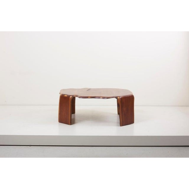 One of a kind James Monroe camp coffee table in walnut. Signed! James Monroe Camp was a self-taught, African-American...