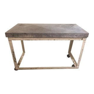 Blue Stone Top Table With Iron Base For Sale