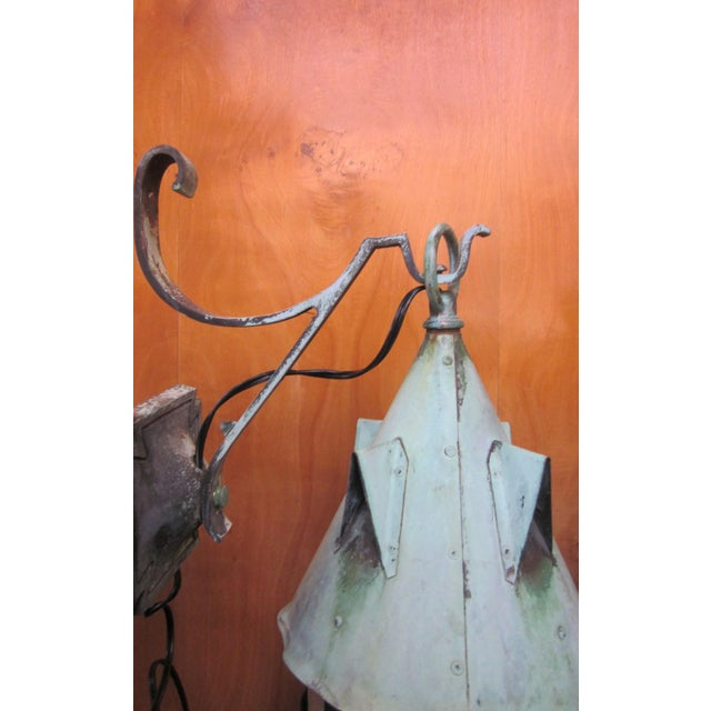 1910s Arts and Crafts Era Mission Style Verdigris Patina Laterns-a Pair For Sale In Chicago - Image 6 of 13