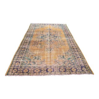 "Antique Oversize Turkish Faded Rug - 6'3"" x 10'2"" For Sale"