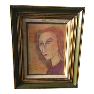 Mixed Media 1971 Portrait Painting on Board