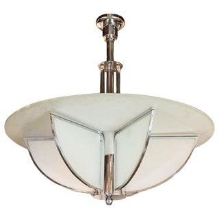 1930s Art Deco Machine Age Frosted Glass Chandelier For Sale