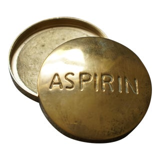 Mid 20th Century Vintage Brass Aspirin Pill Box For Sale