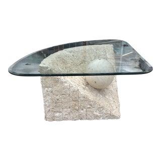 Vintage Postmodern Tessellated Stone Coffee Table For Sale