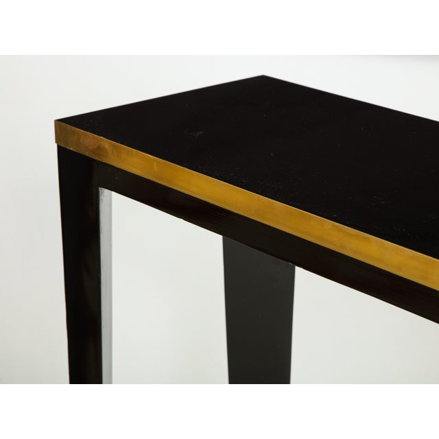 Brass Custom Ebonized Brass-Banded Consoles on Tapered Legs For Sale - Image 7 of 9