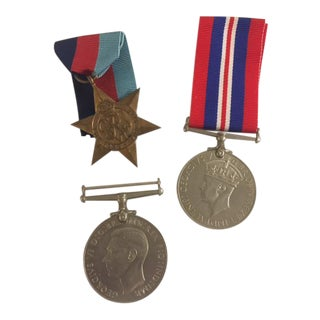 British Medals with Ribbons - Set of 3 For Sale