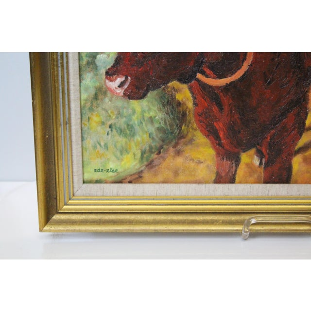 Country Ede-Else Oxen Oil Painting on Canvas For Sale - Image 3 of 7