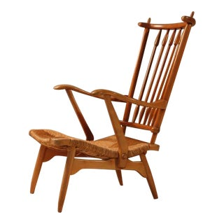 Wood and cane arts and crafts lounge chair, Netherlands, 1950s For Sale