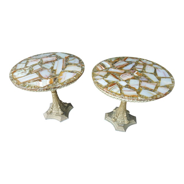 Vintage Arturo Pani Hollywood Regency Agate & Gold Side - A Pair For Sale