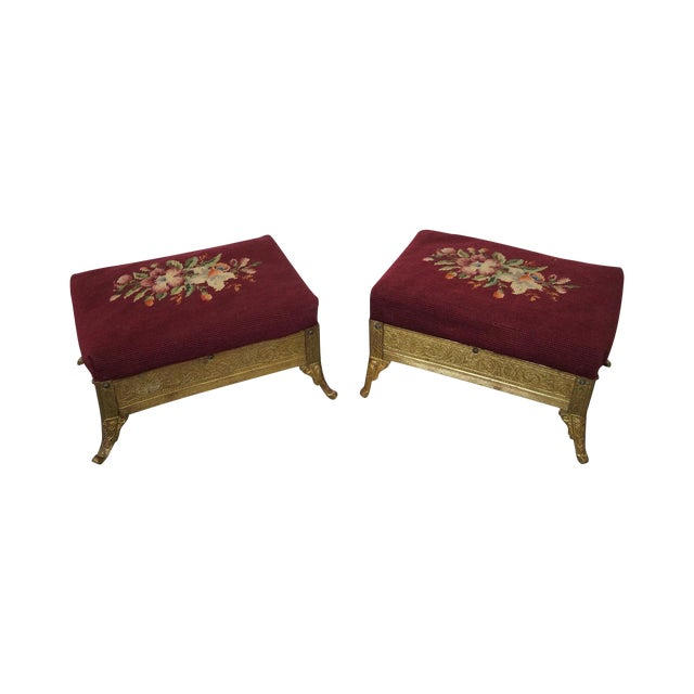 Victorian Aesthetic Brass Footstools, Attributed to Charles Parker- A Pair For Sale