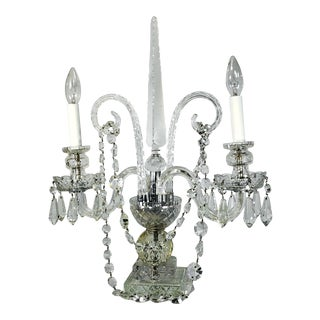 French Cut Crystal 2 Arm Candelabra Lamp Style of Baccarat For Sale