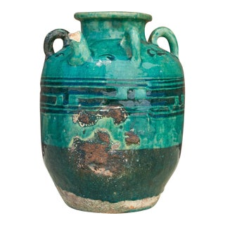 Antique French Glazed Teal Water Jar For Sale