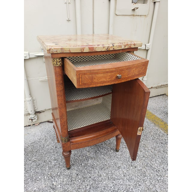 19th Century Empire Burl Walnut Marquetry Marble Top Antique Bedside Cabinet or Side Table For Sale - Image 10 of 13