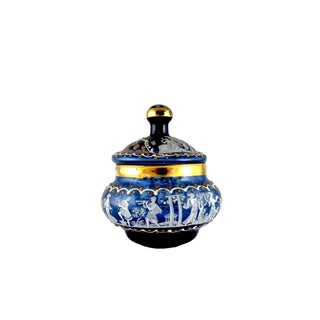 Vintage Italian Hand Blown Blue Glass Powder Jar With Lid Preview