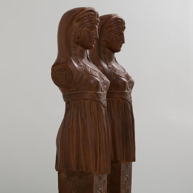 1980s A Pair of Terracotta Term Figures circa 1980 For Sale - Image 5 of 8