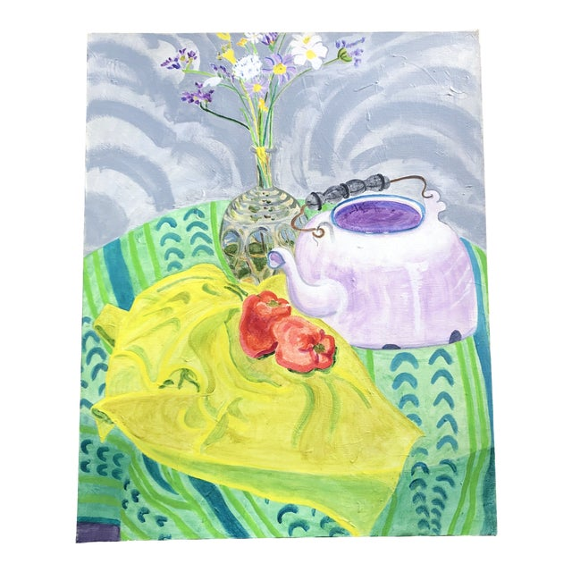 Original Vintage Contemporary Impressionist Still Life Painting Matisse Style For Sale