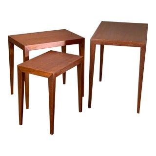 1960s Mid-Century Modern Severin Hansen Haslev Nesting Tables - Set of 3 For Sale