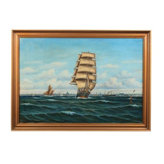 Danish Ship by L. Hauer For Sale