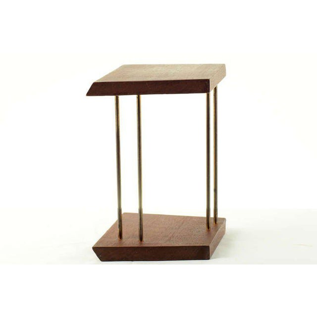 Mid-Century Modern Mahogany and Brass Table Bookend For Sale - Image 3 of 4