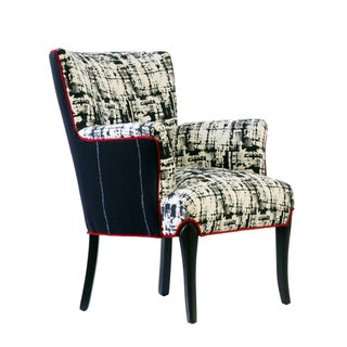 "Black & White Upholstered ""Metro"" Armchair For Sale"