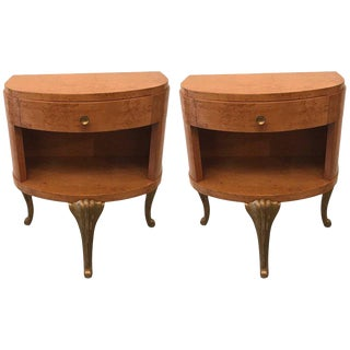 1960s Hollywood Regency Blonde and Parcel Gilt Nightstands - a Pair For Sale
