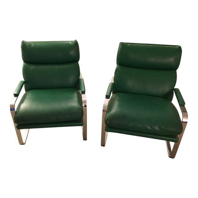 Nickel Frame Scoop Chairs by Milo Baughman - A Pair - Image 1 of 4