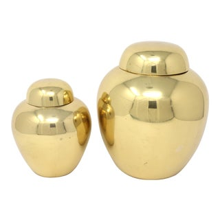 Vintage Brass Melon Jars - Set of 2 For Sale