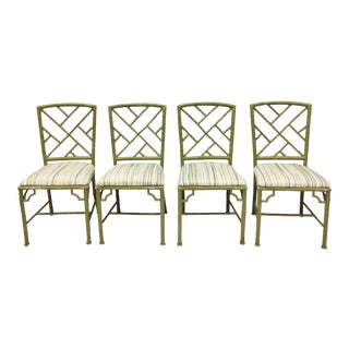 Vintage Faux Bamboo Chinese Chippendale Chairs - Set of 4 For Sale