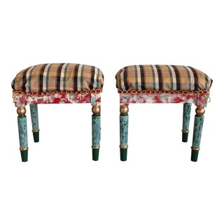 French Stools Plaid Hand Painted Gold - a Pair For Sale