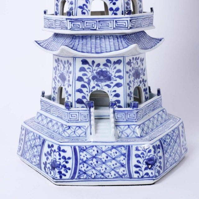 Chinese Blue and White Porcelain Pagodas - a Pair For Sale - Image 10 of 13